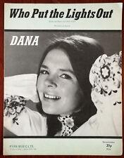 Dana Who Put the Lights Out by Paul Ryan, Ryan Music Ltd. Sheet Music Pub. 1970