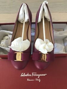 AuthSalvatore Ferragamo Varina Patent Bow Ballerina Flats SZ6.5
