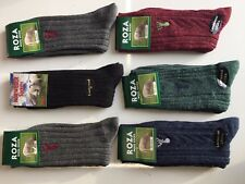 6 pairs man's thick chunky wool socks work hiking boot socks UK size 6-11 MWPTY