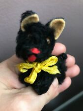 "Rare Antique Miniature Black 3"" Mohair Schuco Scottie Scottish Terrier Doll Dog"