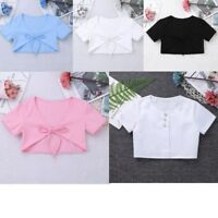 Girls Cropped Short Cap Short Sleeve Tie Up Front Bolero Party Wedding Top 3-14Y