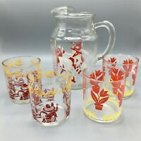 MCM Glass Pitcher Decanter with 4 Glasses Spanish Style