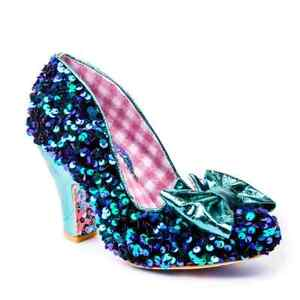 Irregular Choice Nick Of Time (BP) Teal Sequin High Heel Bow Shoes