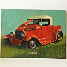 """Vintage 1928 Ford Antique Truck Canvas Oil Painting Red 18"""" X 24"""" Signed Perry"""