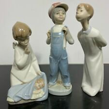 3pc Lladro Glazed Porcelain Art Statue Figurines Madrid Guard Angel Boy Kissing