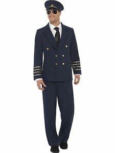 Aviator Pilot Airline Captain Uniform Mens Fancy Dress Stag Costume
