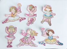 7 Cutie Ballerinas - Iron On Fabric Appliques Patches