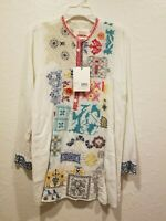 Johnny Was • White Tunic with Pockets with Multi Colored Embroidery •100% Cotton