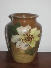 PROBABLY FRENCH VASE BARBOTINE PAINTED FLOWERS