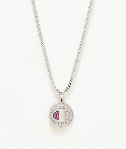 Champion Heritage White Gold Plated Medallion Chain C Logo Pendant Necklace NEW