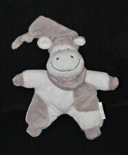 Peluche doudou vache SYSTEME U semi plat blanc gris feuilles 19 cm TTBE