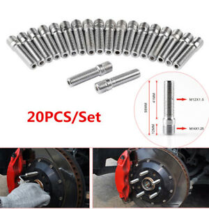 20PCS 14x1.25 TO 12x1.5 WHEEL STUD CONVERSION TALL LUG BOLTS TO STUDS 58MM Steel