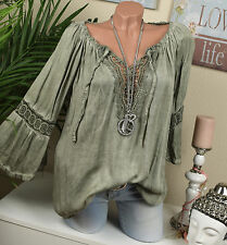 CARMEN Tunic BLOUSE Vintage Crochet Lace blouse Khaki OVERSIZE Hippie 36 38 40