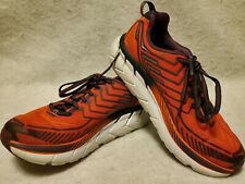 HOKA ONE ONE Women's Sz 6.5 Clifton 4 Running Shoes Orange/Purple, EUC Excellent