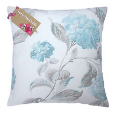 Vintage/shabby Chic Laura Ashley Hydrangea Duck Egg Blue Fabric Cushion Cover 18x18 Cream Cotton