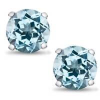 Sterling Silver Basket Set Genuine Sky Blue Topaz March Birthstone Stud Earrings