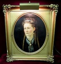 Antique  Oil Painting  Woman In Curls Baroque Frame Spot  Light
