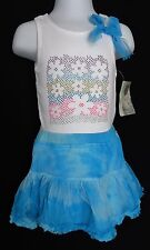 Flapdoodles Girls 18 Months Top Skirt Outfit Blue Glitter Sparkle NWT
