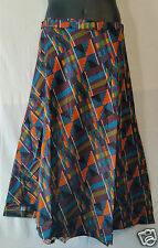 African Kente Fabric Cloth wrap around Skirt Maxi Vintage 70s Free size Print #7