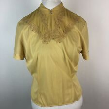 Vtg 50s Keri Modes Womens Short Sleeve Embroidered Blouse Mustard Yellow M