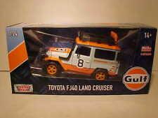 GULF OIL Toyota FJ40 SUV Land Cruiser Truck Diecast Car 1:24 Motormax 7 inch 4x4