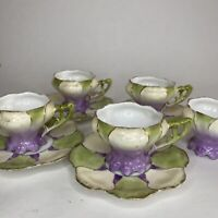 4 Antique Victorian Tulip Formed Formed Porcelain Demitasse Cups & Saucers