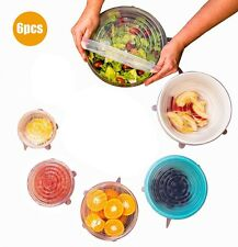 6Pcs Silicone Stretch Lids Food Saver Covers Warp-bowl Can Cup Fruit Sealer