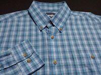 Wrangler Mens Large Long Sleeve Button-Down Blue Plaid Check Western Shirt