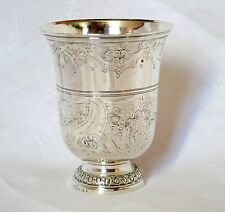 TIMBALE TULIPE ARGENT MASSIF DECOR FLORAL XVIIIE SIECLE PARIS 1777 137 GR TBE