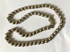 Vintage silver Mexico Mexican bead necklace. Length 20""