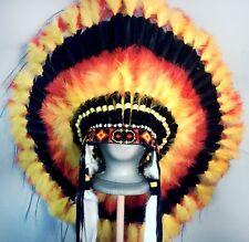 Native American Black SUNDANCER Feather Headdress War Bonnet