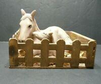 HORSE FIGURES DECORATIVE MARE AND FOAL IN STABLE BED PORCELAIN WOODEN STABLE