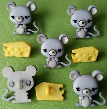 MICE AND CHEESE - Baby Grey Mouse Animal Food Dress It Up Novelty Craft Buttons