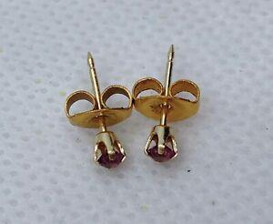 VTG 14k Yellow Gold & 2.9mm Amethyst Stud Earrings 0.26g W/ GF Backings #rf