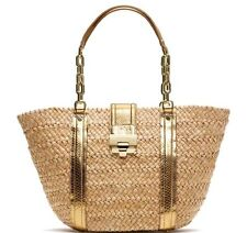 Michael Kors Metallic Gold Python TRIM Straw Tote Corn hust handbag shopper Nwt