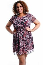 Skater Synthetic Floral Plus Size Dresses for Women