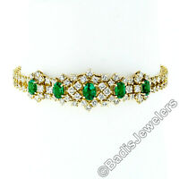 Vintage 18k Gold 7.68ctw VERY FINE Oval Emerald & Round Diamond Chain Bracelet