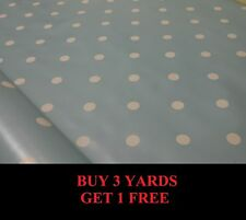 Duck Egg Blue White Polka Dot Spot Tablecloth Vinyl PVC Oilcloth Material Fabric