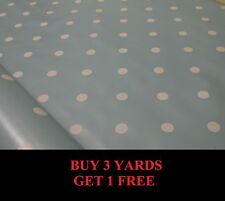 Duck Egg Blue White Polka Dot Spot Tablecloth Vinyl PVC Oilcloth Fabric Material