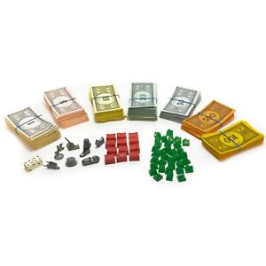 Vintage 1961 Monopoly Game Pieces Replacement Parts Money Houses Dice Tokens