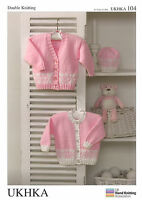 Baby Cardigans and Hat Double knitting pattern. (Prem - 12mths ) -UKHKA104