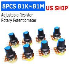 Us Stock 8 Units 10k B10k Ohm Linear Taper Rotary Potentiometer Pot Blue Knob
