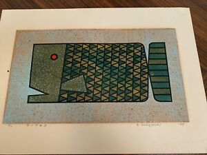 Genshichi Tsukagoshi MCM ltd edt 2/10 pencil signed screenprint Fish 1969 GREAT