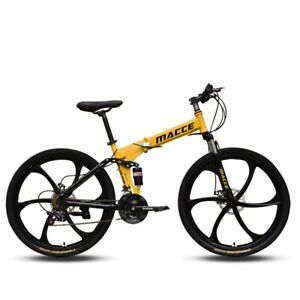 26 inches 21 Speed Folding Mountain Bike Double Disc Brake Full Shockingproof