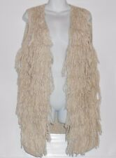 H&M Ladies Fringed Knit Sweater Vest Light Beige Medium (M) NWT