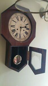 Huge Vintage VERICHRON Wind-Up Regulator Pendulum Wall Clock  Chimes w/Key