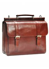 Mancini Leather Goods Luxurious Italian Leather Laptop Briefcase 95897-Brown