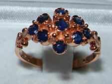 9ct Rose Gold Ladies Victorian Style Sapphire Cluster Ring