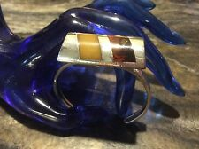 Vintage Inlaid Baltic AMBER Modernist Cuff Bracelet In 925 Sterling Silver