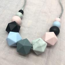 Baby Silicone Teething Necklace Hexagon Beads Chewable Sensory Jewelry Teether